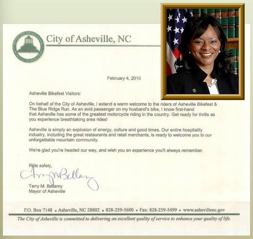Image - Asheville Mayor Terry Bellamy Welcomes Bikefest letter