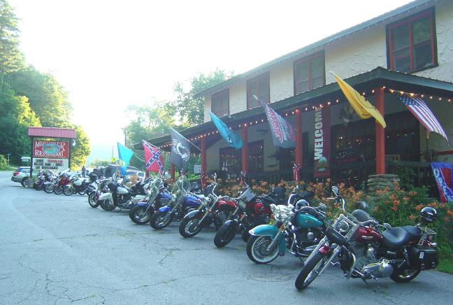 Photo - motorcycles at the Mountaineer Restaurant