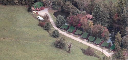 Photo - aerial view of the cabins on the roaring creek