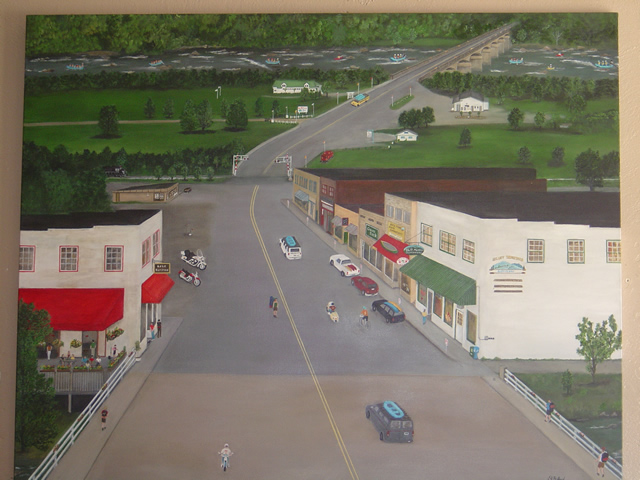 Photo of painting of the town of Hot Springs, NC