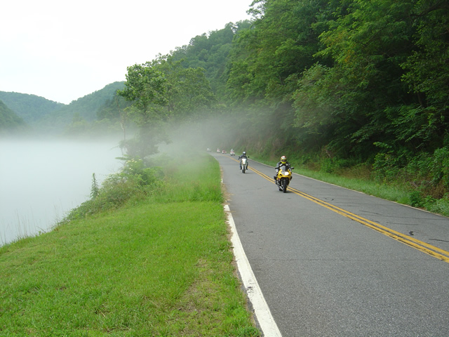Photo - Motorcycles along foggy Fontana Lake