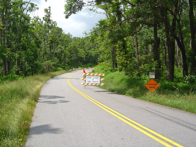 Photo - Blue Ridge Parkway barricade at NC 151