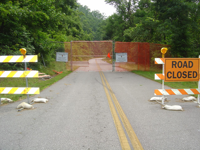 Photo - fence near closed section of the Blue Ridge Parkway