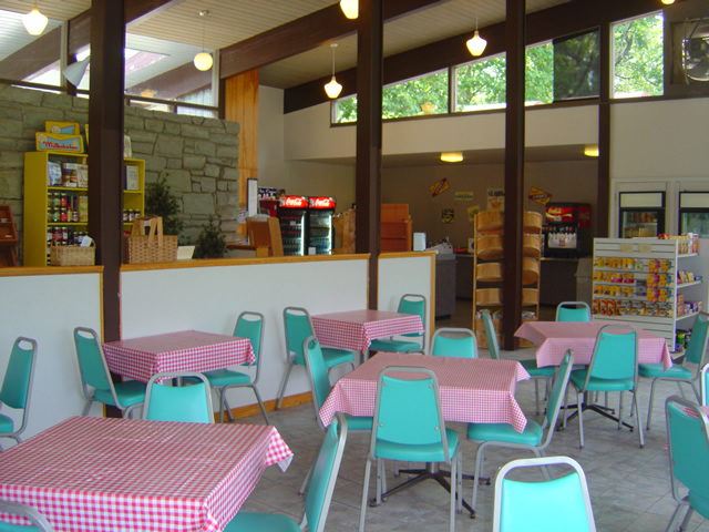 Photo - seating area at the Crabtree Falls Visitor Center