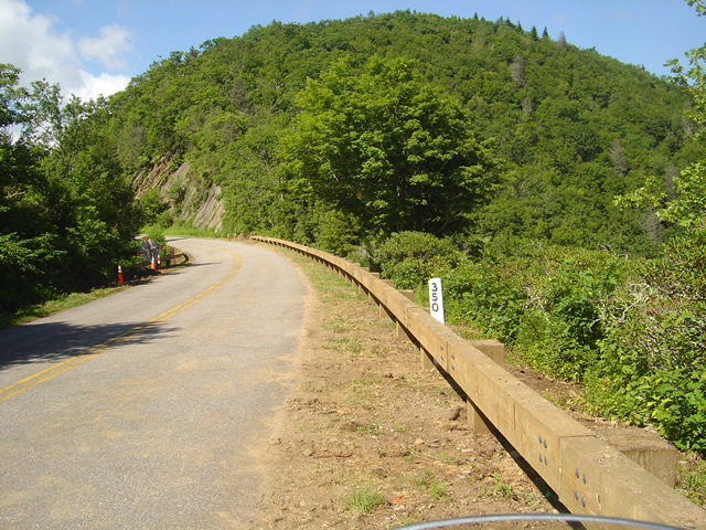 Photo - section of new Blue Ridge Parkway guardrail