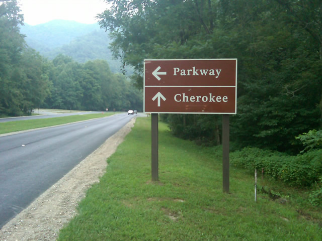 Photo - sign at the southern end of the Blue Ridge Parkway