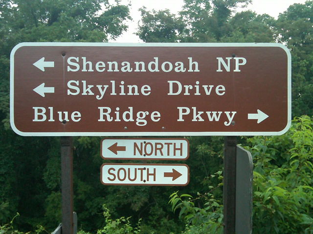 Photo - sign at start of Blue Ridge Parkway