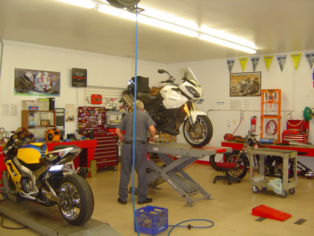 Photo - my motorcycle getting serviced.