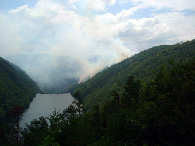 Photo - forest fire near the Calderwood Dam at Deals Gap