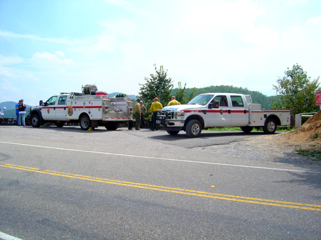 Photo - fire crews at Deals Gap