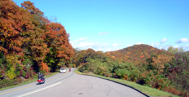 View of leaves changing at the Plott-Balsam overlook on the Blue Ridge Parkway