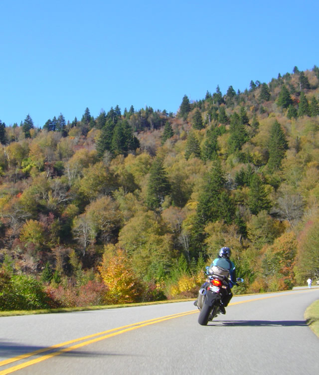 Photo - motorcycle cruising on the Blue Ridge Parkway