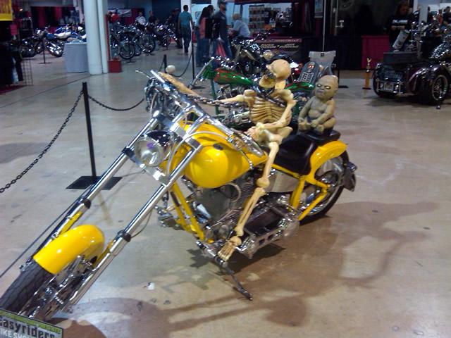 Photo - skeleton on a motorcycle