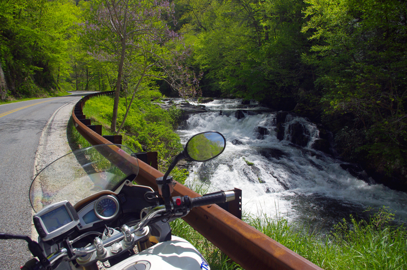 Best Motorcycle Rides, NC - Wayah Road - Waterfall along Wayah Road