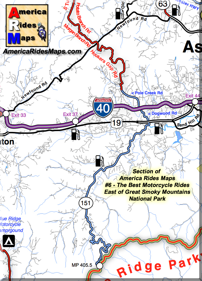 Image - Section of America Rides Maps shows Hookers Gap Rd.