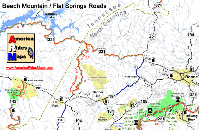 Image - Map shows location of Beech Mountain Road
