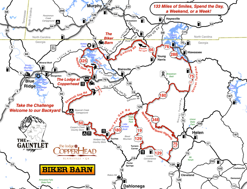 Fun Motorcycle Rides in Georgia - Get a free map of The Gauntlet at the Biker Barn on US 129 near Blairsville.