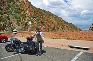 Motorcycle Rides in Arizona: Sedona, Scottsdale area - Jackie gets ready to descend from the Mingus Highway