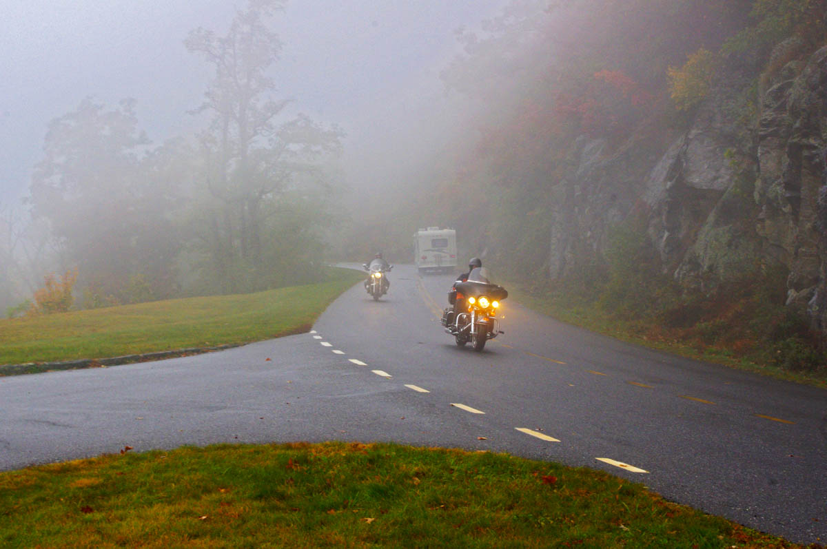 image-motorcycle in fog on Blue Ridge Parkway