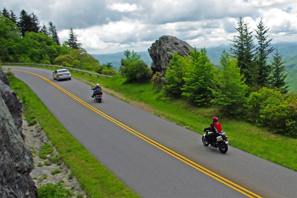 Motorcycle Riding on the Blue Ridge Parkway - Safety Tips - Courteous Passing and Signal your intentions - There are lots of overlooks through the most scenic sections. Use your signal lights to communicate to the driver ahead.