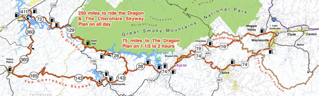 Blue Ridge Parkway to Tail of the Dragon Map