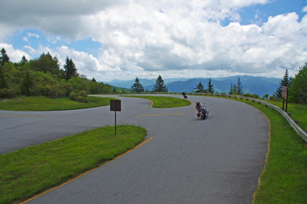 Best Blue Ridge Parkway Overlooks by Motorcycle - Waterrock Knob  - the turn