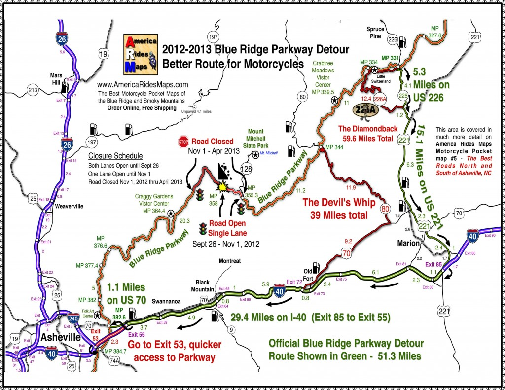 Blue Ridge Parkway closure 2013 map