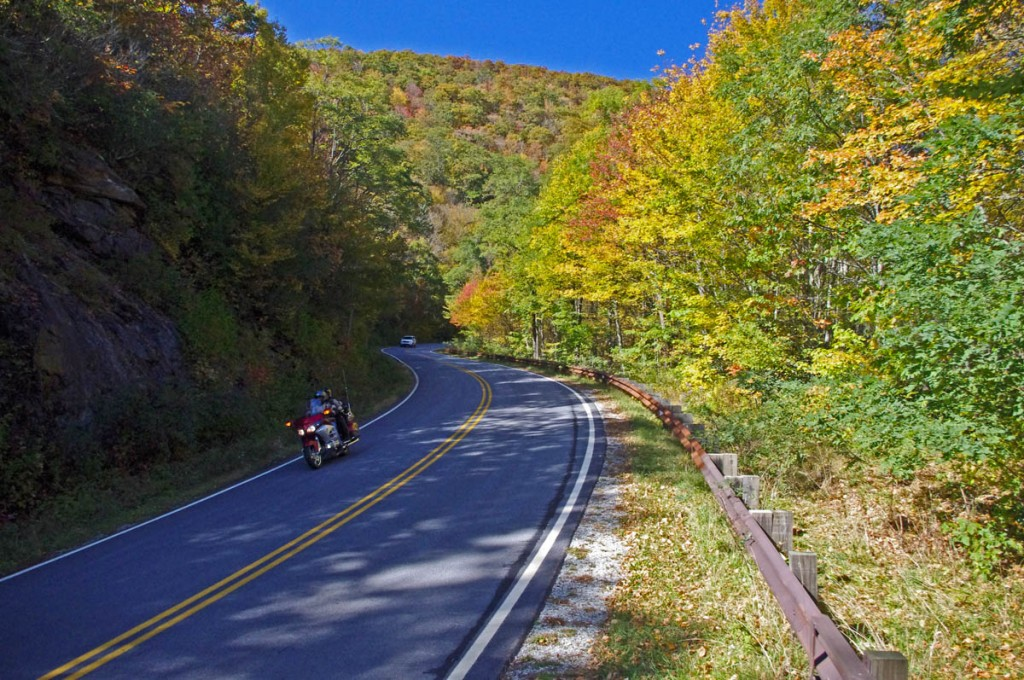 NC 215 fall leaf color - motorcycle rides nc