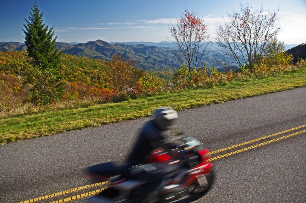 Blue Ridge Parkway Motorcycle - Fall leaf color