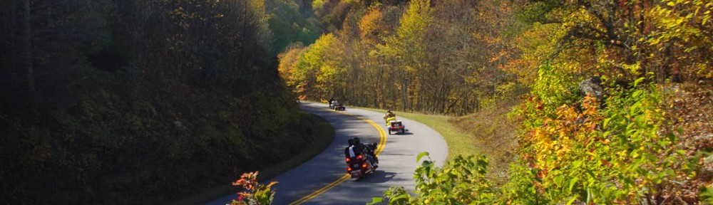 Blue Ridge Parkway Motorcycle - Fall leaf color;
