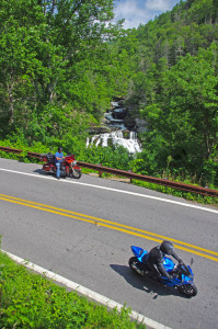 "Motorcycles at Cullasaja Falls in North Carolina's ""Land of the Waterfalls"""