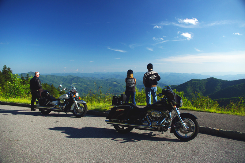 Enjoy a Blue Ridge Parkway view on a motorcycle trip