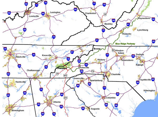 Map - How long to ride the Blue Ridge Parkway?