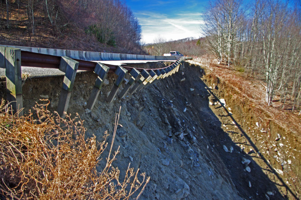 Landslide on the Cherohala  Skyway - remaining slope at the edges.