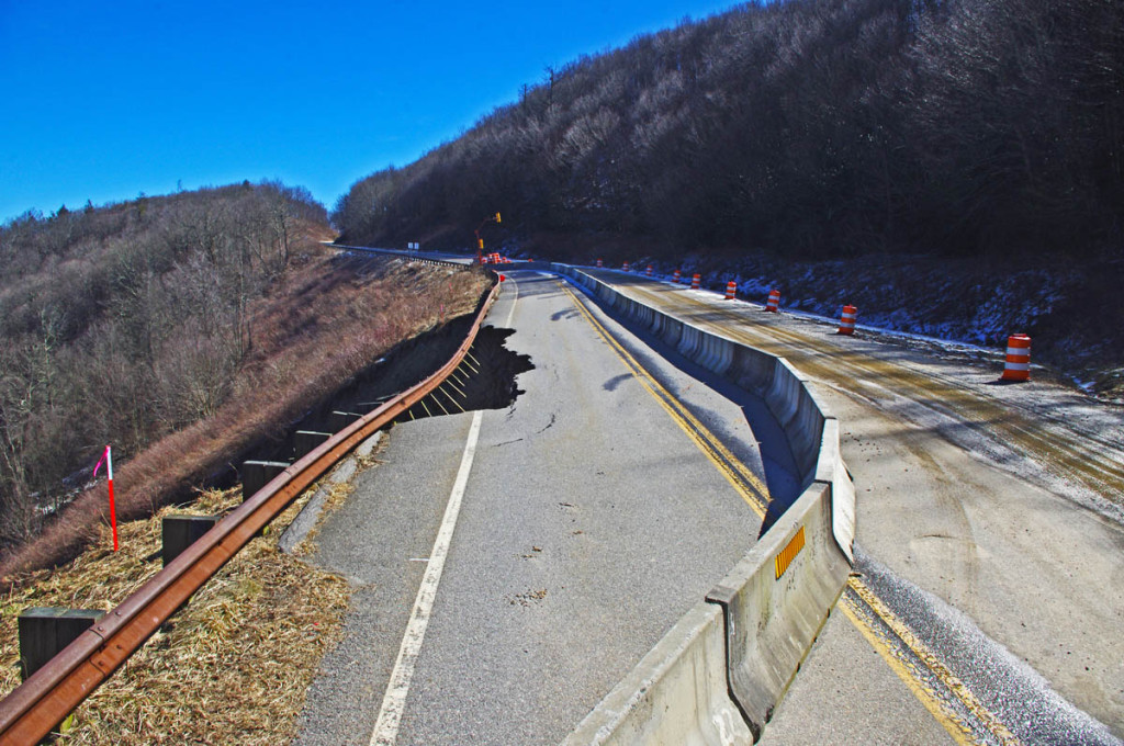 Landslide on the Cherohala Skyway  - one lane is closed.
