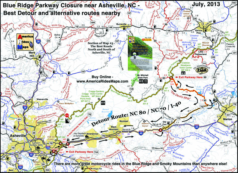 Blue Ridge Parkway detour map 2013