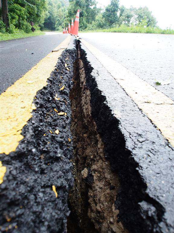 Photo courtesy National Park Service - Blue Ridge Parkway crack in road