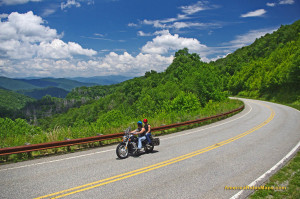 Enjoying a summer motorcycle ride on the Cherohala Skyway