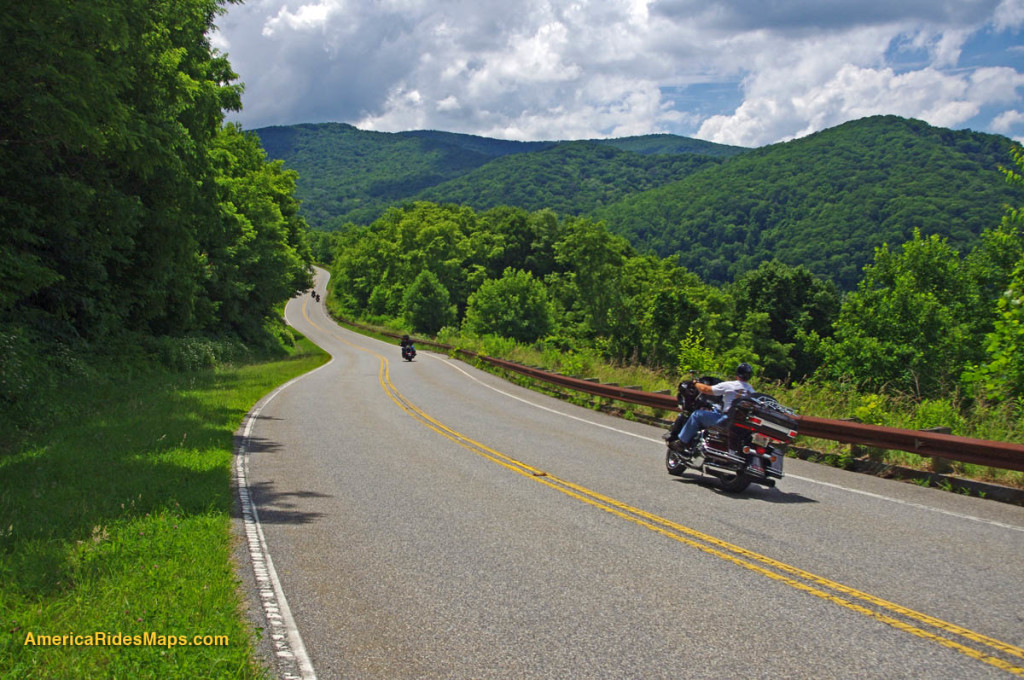 Motorcycles starting up the grade from the North Carolina end of the road on the Cherohala Skyway.