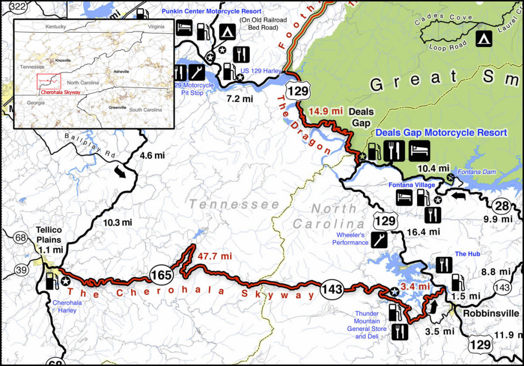 The Cherohala Skyway is near The Dragon at Deals Gap. It runs from Robbinsville, NC to Tellico Plains, TN.