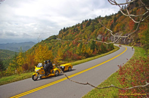 yellow motorcycle on blue ridge parkway