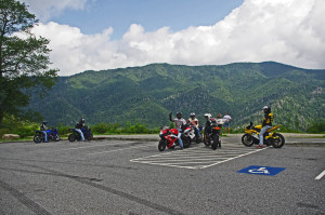 Motorcycles at overlook in Smoky Park
