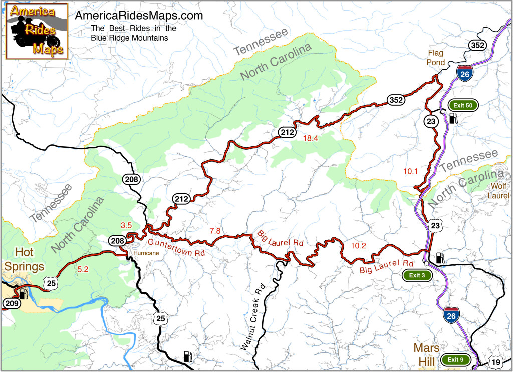 Hot Springs to Flag Pond Motorcycle Ride Map