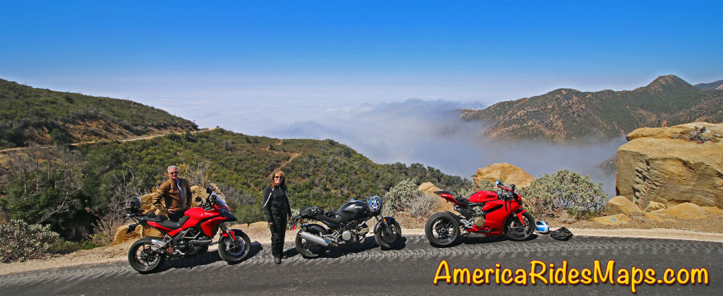 Andy and Jackie on Gibraltar Road, east of Santa Barbara - View of the Pacific fog.