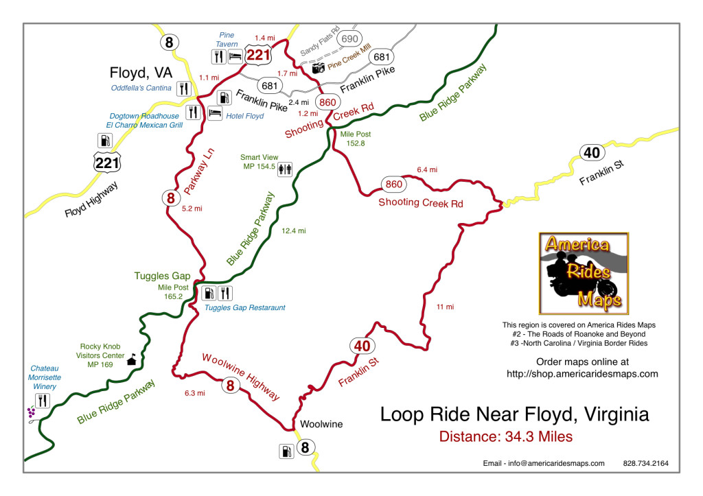 Motorcycle loop ride map near Floyd, VA