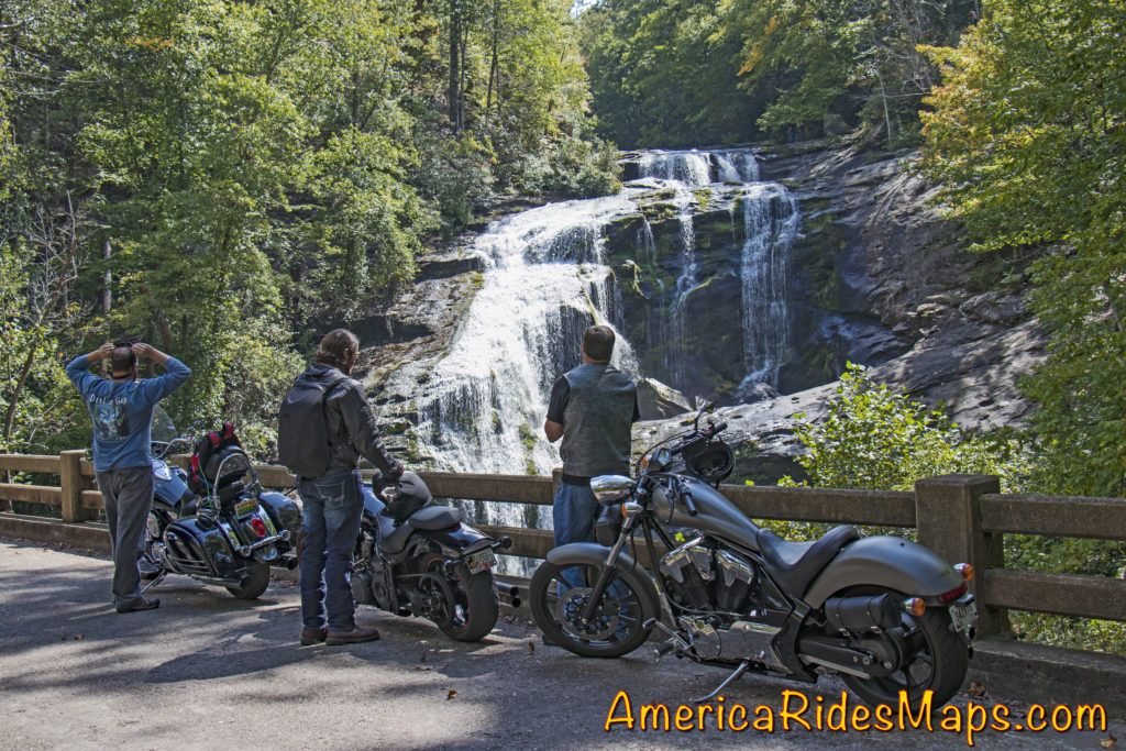Motorcycles at Bald River Falls